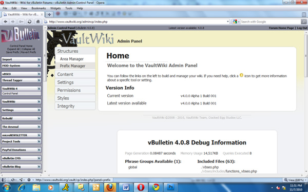 The VaultWiki CP home page prominently shows your current VaultWiki version and if any updates are available.