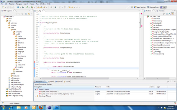 Developing VaultWiki 4 in Eclipse reduces the occurrence of menial errors like PHP syntax errors.