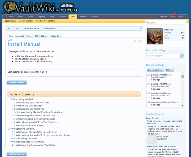 Organize wiki content in a variety of ways, using provided grouping features like Books.